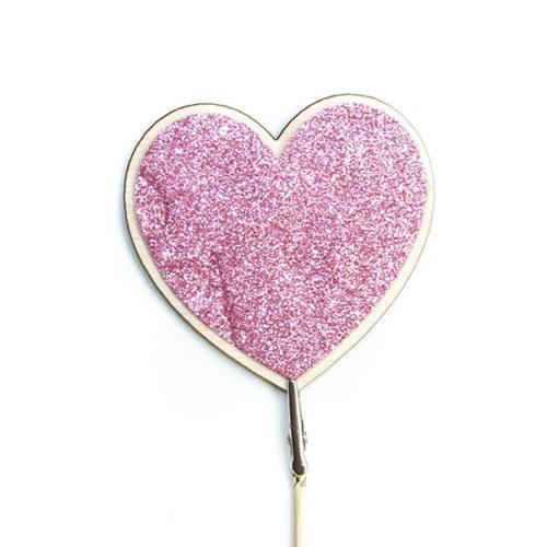 Топпер Сердце Розовый с блестками 7 х 7 см