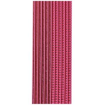 Трубочка для коктейля фольга розовая 12 штук