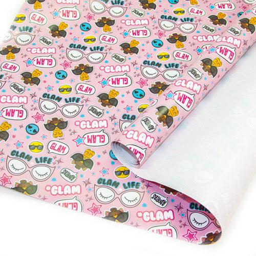 Упаковочная бумага 0,7 х 1 м Кукла ЛОЛ LOL Модный паттерн Розовый 2 штуки