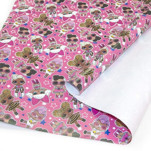 Упаковочная бумага 0,7 х 1 м Кукла ЛОЛ LOL Розовый 2 штуки