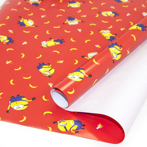 Упаковочная бумага 0,7 х 1 м Миньоны Красный 2 штуки