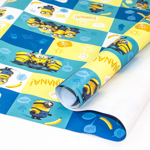 Упаковочная бумага 0,7 х 1 м Миньоны 2 штуки