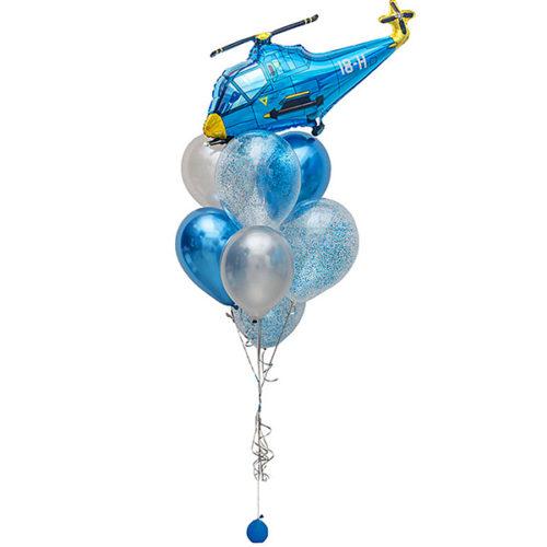 Фонтан из шаров Микс с Конфетти и Веротолет Голубой