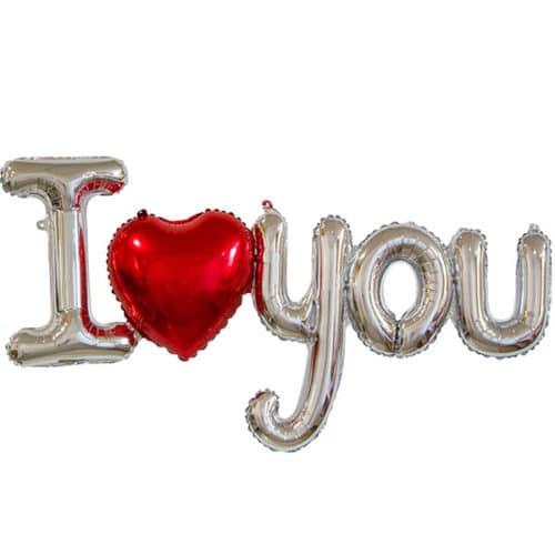 Шар 122 см Фигура Надпись I love you с сердцем СереброШар 122 см Фигура Надпись I love you с сердцем Серебро