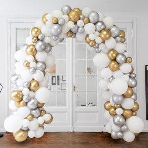 Арка Ассорти из воздушных шаров Белый Серебро и Золото Хром
