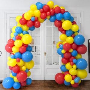 Арка Ассорти из воздушных шаров Желтый Красный и Голубой