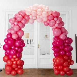 Арка Ассорти из воздушных шаров Красный Розовый и Фуксия