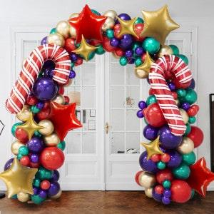 Арка Ассорти из воздушных шаров Новогодняя с леденцами и Звездами