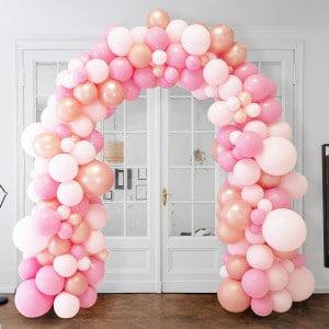 Арка Ассорти из воздушных шаров Розовые тона