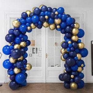Арка Ассорти из воздушных шаров Синий и Золото Хром