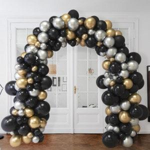 Арка Ассорти из воздушных шаров Черный Серебро и Золото Хром