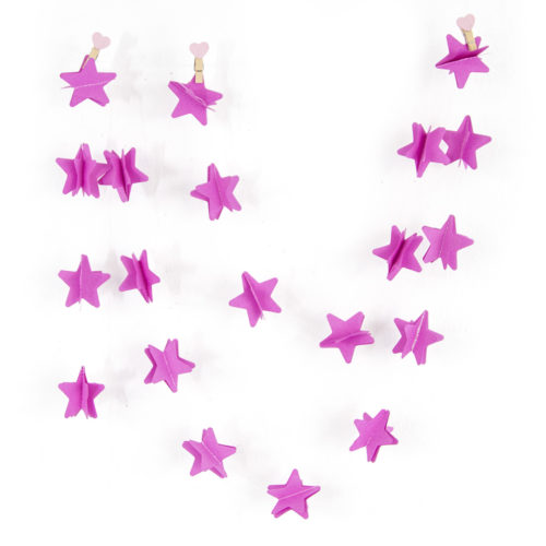 Гирлянда - подвеска Звезда Розовый 220 см