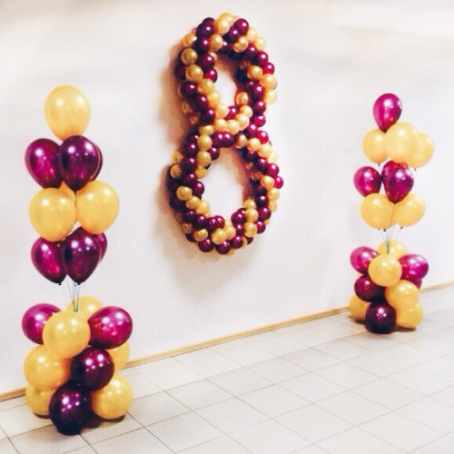 Комплект Воздушных шаров Стойки с Цифрой 8 Золото и фиолетовый