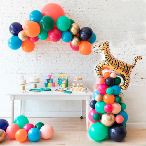 Комплект воздушных шаров Звериная вечеринка Стойка с Тигром Шары на пол