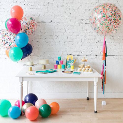 Комплект воздушных шаров Фонтан Шары на пол и Шар с конфетти с Тассел гирляндой