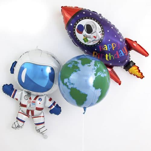 Комплект из воздушных шаров Ракета Земля и Космонавт с Воздухом