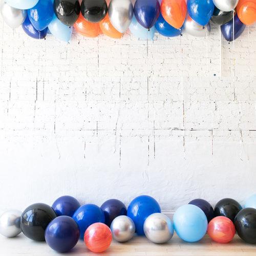 Комплект из воздушных шаров под потолок и шары на пол Космический микс
