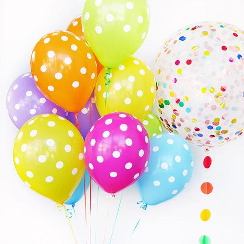 Комплект из 10 шаров в горошек и Большой шар с гирляндой и конфетти