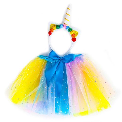 Набор ободок юбочка Волшебный Единорог Радужный с блестками