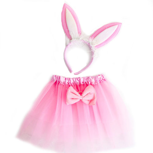 Набор ободок юбочка бантик Зайка Розовый