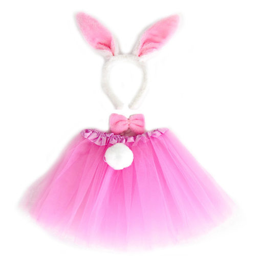 Набор ободок юбочка бантик хвостик Зайчик Розовый
