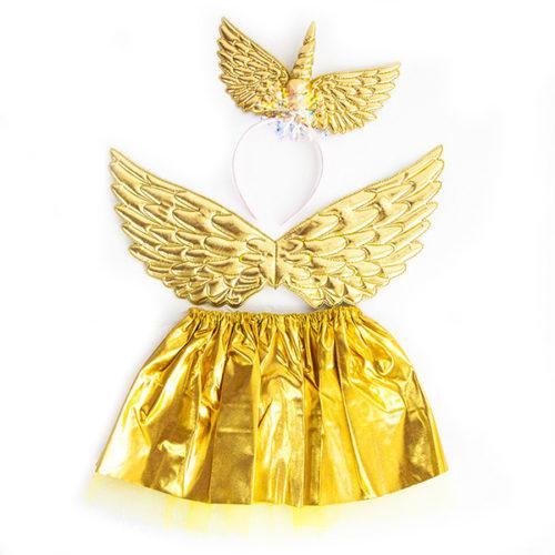 Набор ободок юбочка крылья Небесный единорог Золото