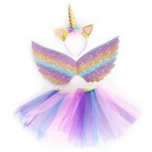 Набор ободок юбочка крылья Небесный единорог Нежная радуга c блестками