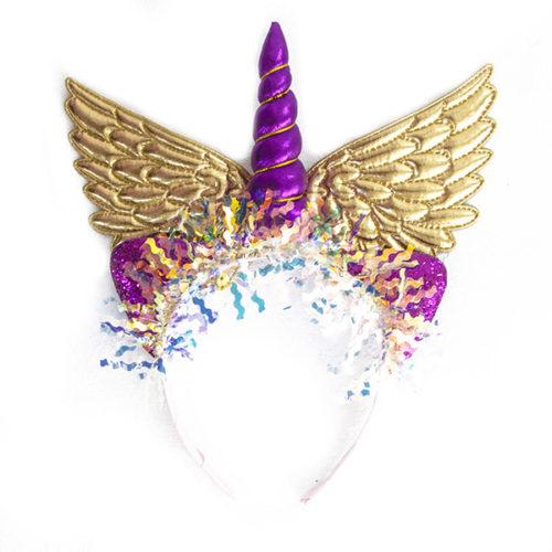 Ободок Небесный единорог Золотые крылья
