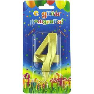 Свеча Цифра 4 Грани Золото 7 см