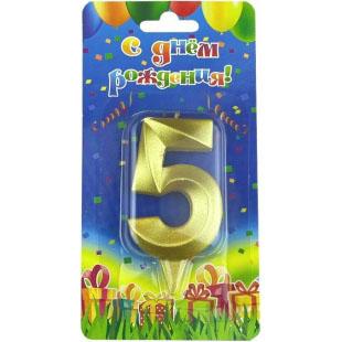 Свеча Цифра 5 Грани Золото 7 см