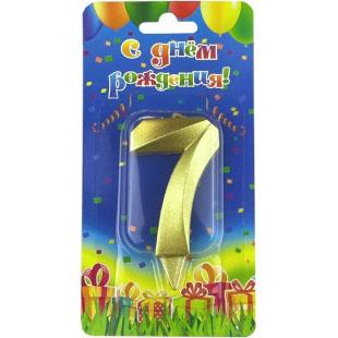 Свеча Цифра 7 Грани Золото 7 см