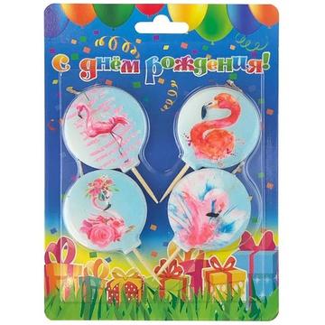 Свечи для торта на пиках Фламинго 4 штуки