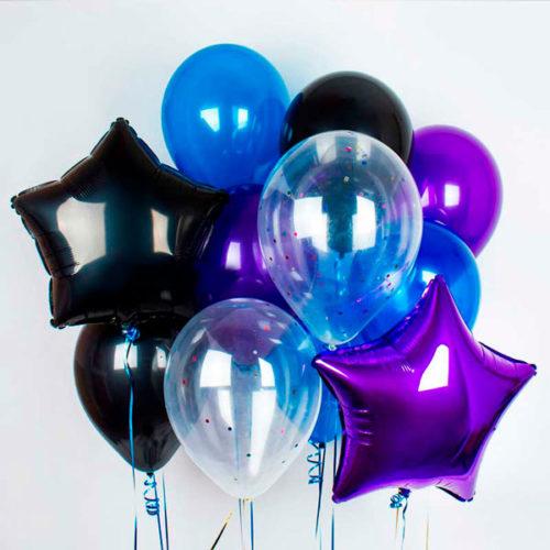 Связка из воздушных шаров Звезды Микс шары с конфетти Космические тона