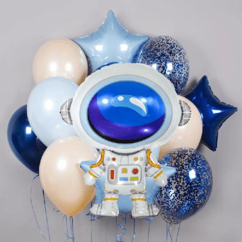 Связка из воздушных шаров Микс Конфетти и Космонавт