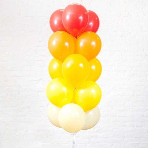 Связка из 15 шаров Красный Желтый Оранжевый Белый