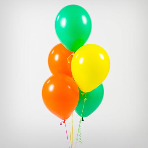 Связка из 5 шаров Зеленый Желтый Оранжевый