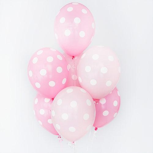 Связка из 7 шаров в горошек Розовый