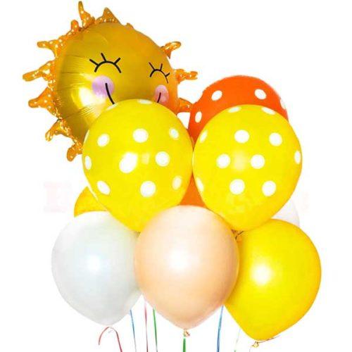 Связка из 8 разноцветных шаров Желтый Оранжевый Горошек с Солнышком