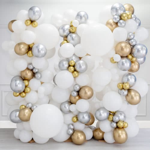 Стена Ассорти из воздушных шаров Белый Серебро и Золото Хром