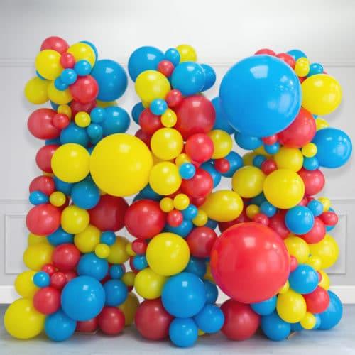 Стена Ассорти из воздушных шаров Желтый Красный и Голубой