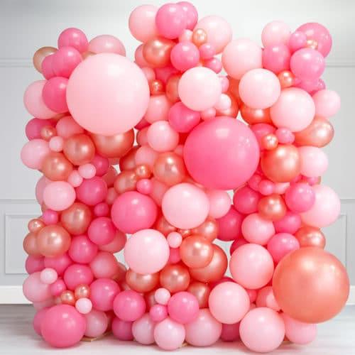 Стена Ассорти из воздушных шаров Розовые тона