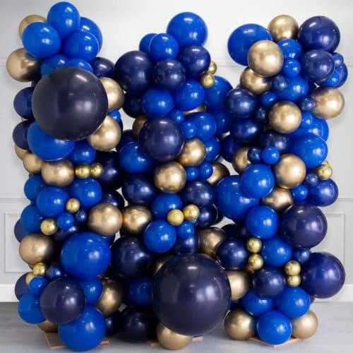 Стена Ассорти из воздушных шаров Синий и Золото Хром