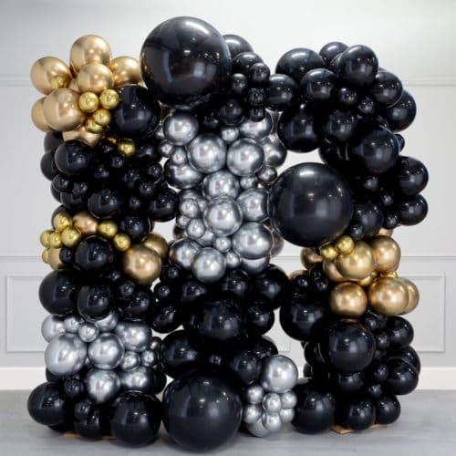 Стена Ассорти из воздушных шаров Черный Серебро и Золото Хром