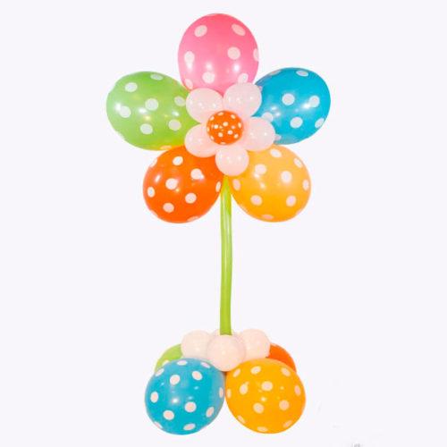 Стойка из воздушных шаров Цветок в Горошек
