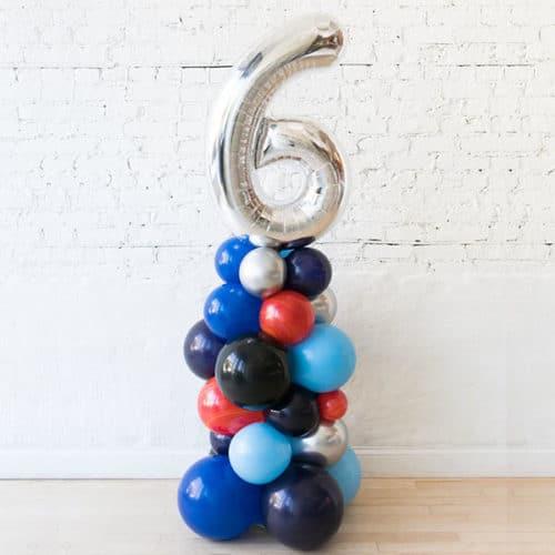 Стойка из воздушных шаров Цифра 6 Серебро