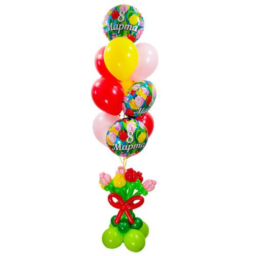Фонтан из шаров с тюльпанами к 8 марта