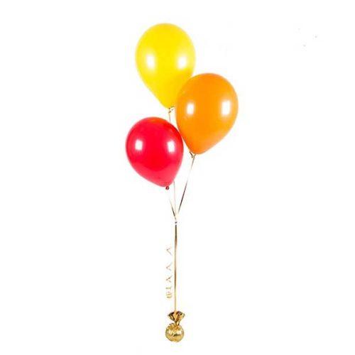 Фонтан из 3 шаров Красный Желтый Оранжевый