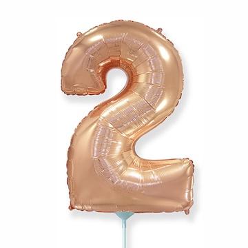 Шар 41 см Мини - Цифра 2 Розовое Золото