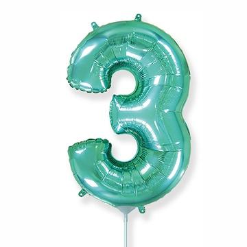 Шар 41 см Мини - Цифра 3 Бирюзовый