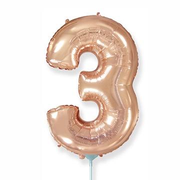 Шар 41 см Мини - Цифра 3 Розовое Золото